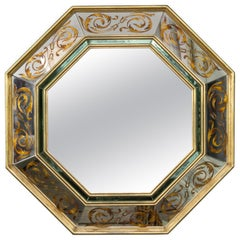 French 1940s Octagonal Reverse Painted Mirror