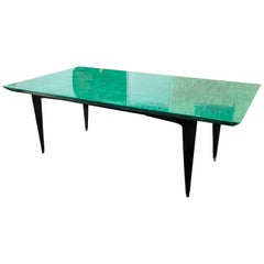Emerald Goatskin Table Black Wood Legs Attribution to Aldo Tura, Italy, 1970s