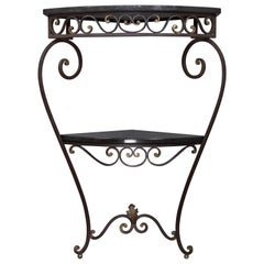 French 1940s Iron and Granite Corner Console