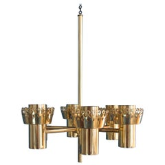 Rare Brass Celling Candle Lamp Hans Agne Jakobsson, Sweden
