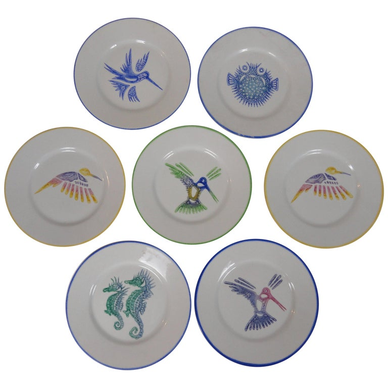Set of Ten Limoges Painted Plates For Sale