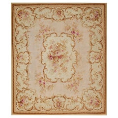 19th Century Handwoven Antique Aubusson Rug, floreal white