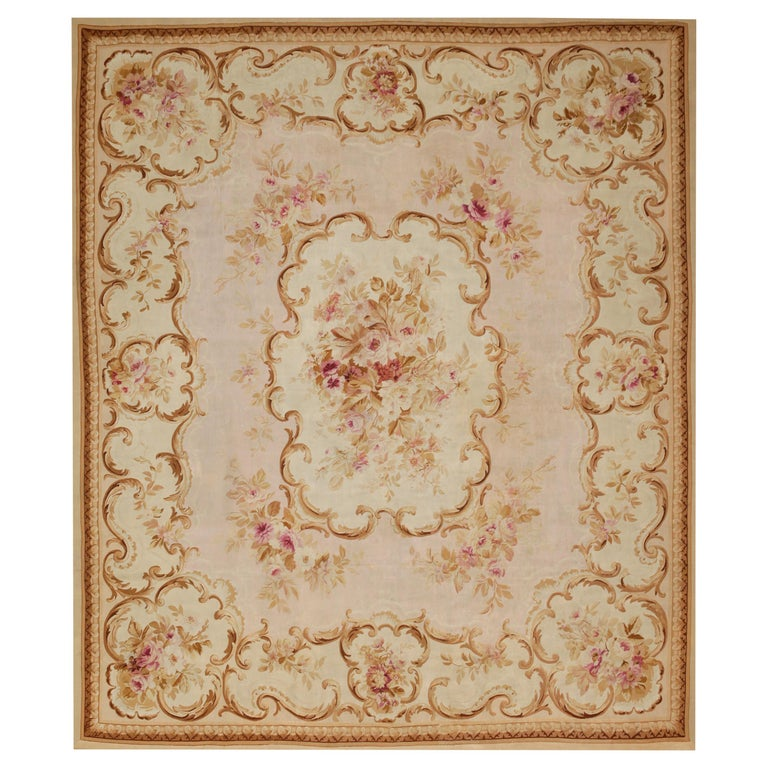 19th Century Handwoven Antique Aubusson Rug, floreal white For Sale