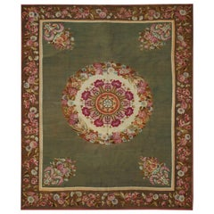 19th Century Handwoven Aubusson Rug, green with flowers