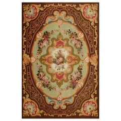19th Century Elegant Aubusson Rug, flowers, Louis Philippe period