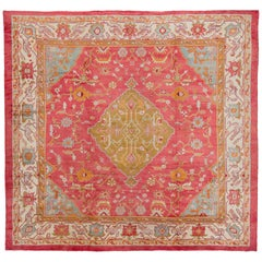 Colorful Antique Oversize Square Oushak Rug