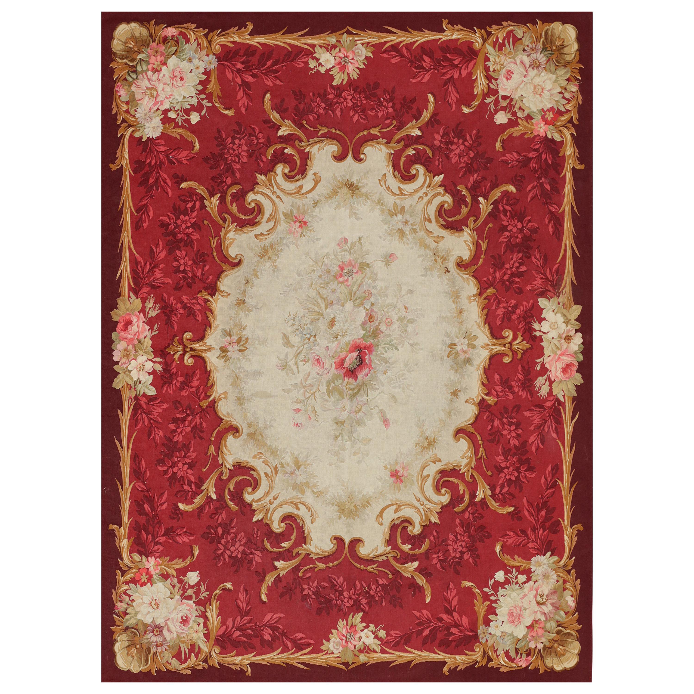 Mid-19th Century Napoleon III Period Handwoven Antique Aubusson Wool & Silk Rug