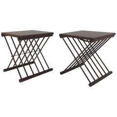 Chic Pair of Danish Folding Teak Tray Top Side Tables End Tables