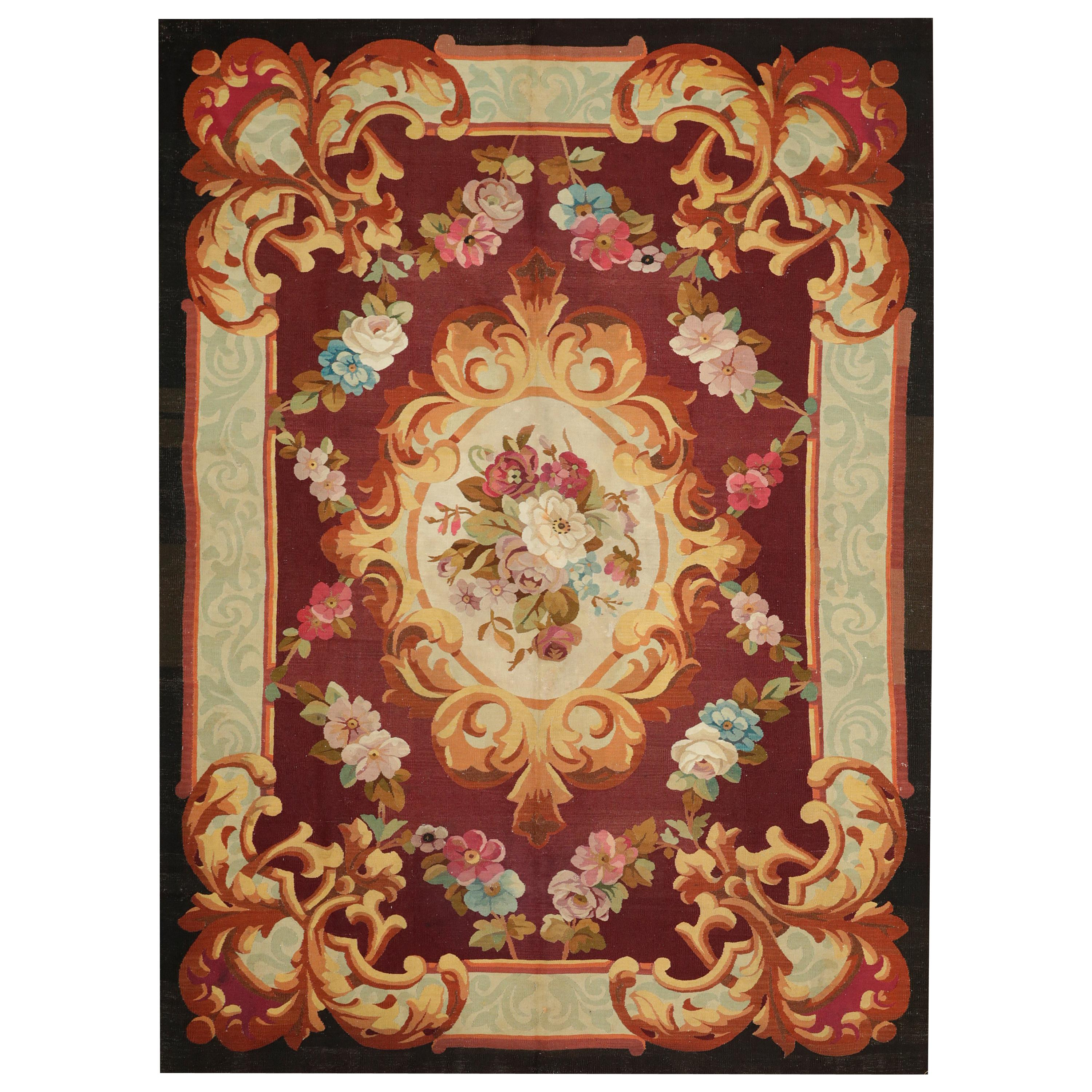 Mid-19th Century Handwoven Antique Aubusson Rug, red with flowers