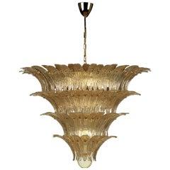 Barovier & Toso Mid-Century Modern Gold Murano Glass Palmette Chandelier, 1990s