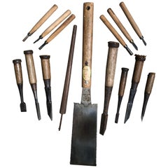 Japanese Carpenter's Cache 15 Antique Professional Tools, Saw and Chisels