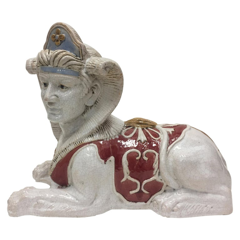 Dramatic Glazed Terra Cotta Sculpture of an Egyptian Sphinx For Sale
