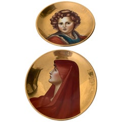 Vintage Italian Hand Painted Gold Leaf Plates from Florence