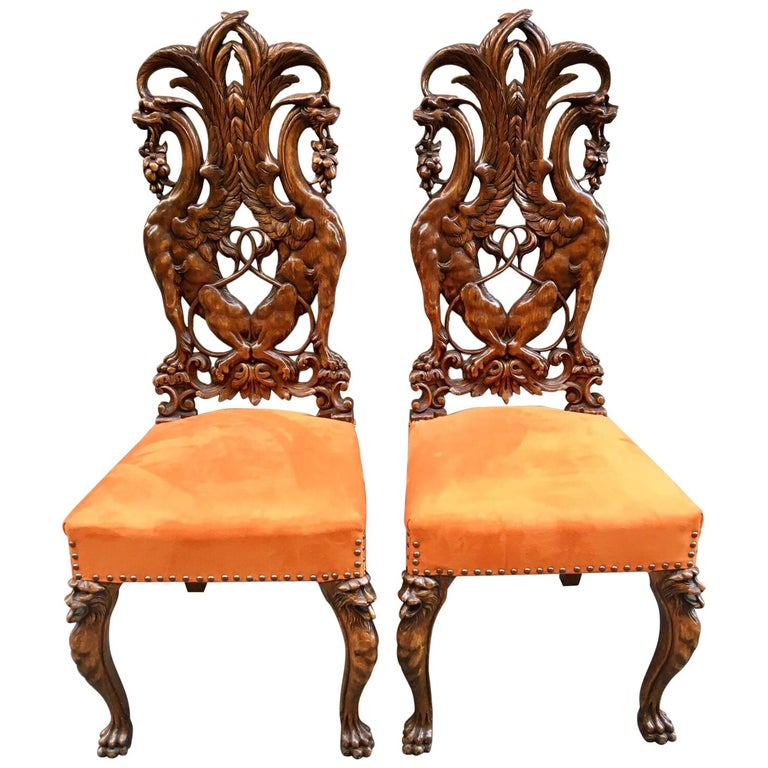 Pair Of Carved Renaissance Style Wooden Chairs Orange Alcantara Seat Early 1900 For