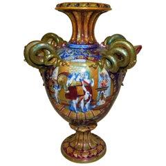 Monumental circa 1890 Italian Majolica Ceramic Urn Shaped Vase