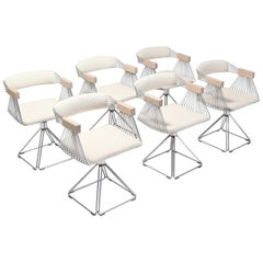 Postmodern Chromed Steel Wire Swivel Chairs with Ivory Wool Seating
