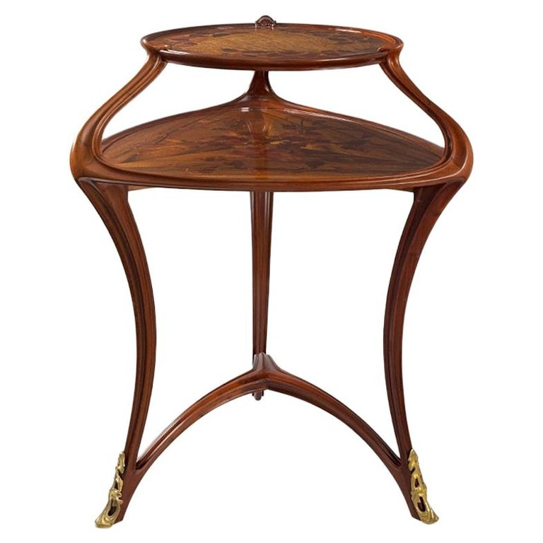 French Art Nouveau Two-Tiered Triangular Gueridon by Louis Majorelle For Sale