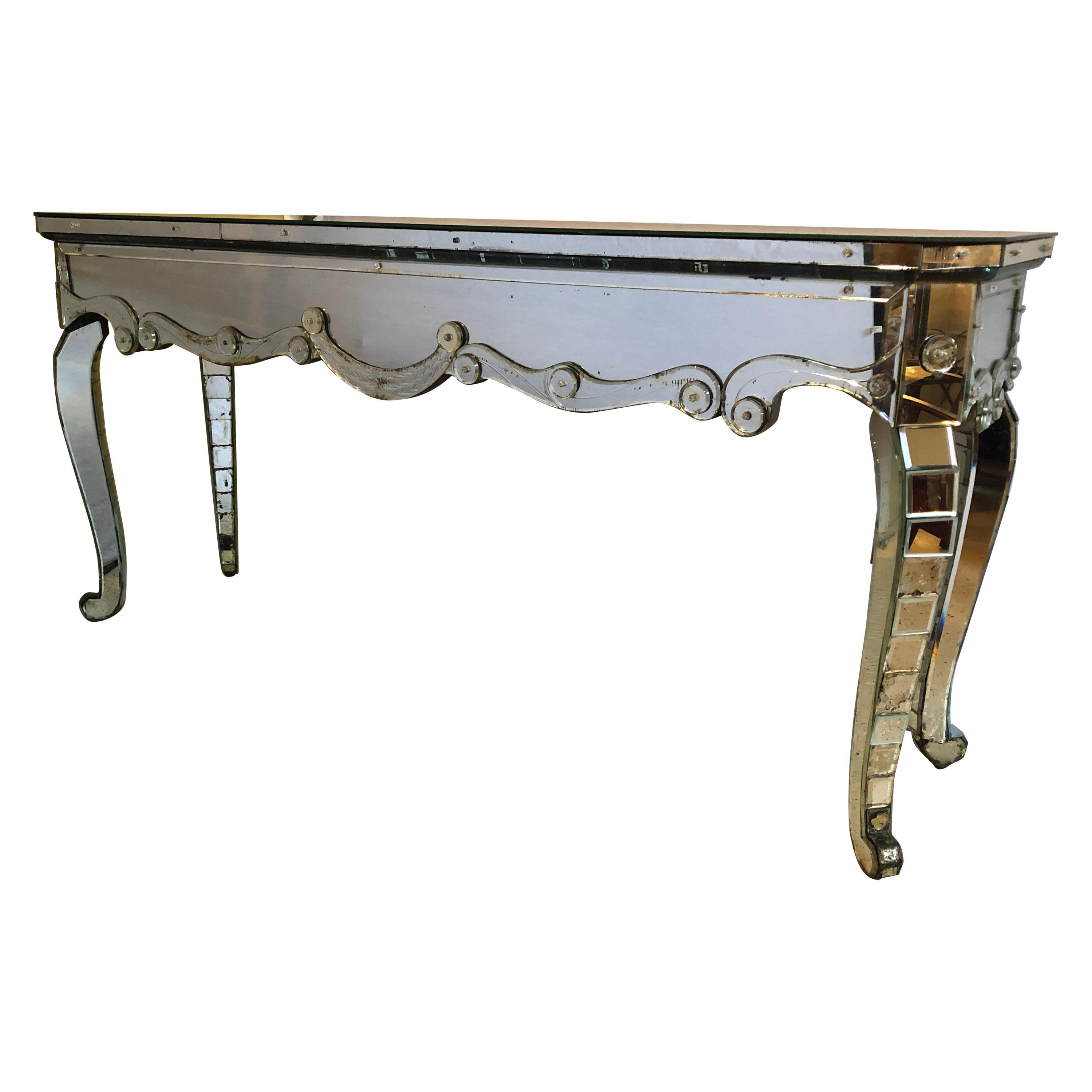 Hollywood Regency Mirrored Console with Applied Decoration and Cabriolet Legs