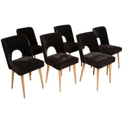 Set of Six Black Velvet 'Shell' Chairs, 1960s