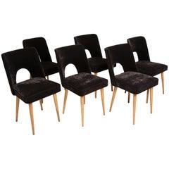 Set of Six Black Velvet 'Shell' Chairs, 1960s