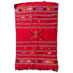 Red Moroccan Cactus Silk Kilim Rug Tribal Flatweave Handmade Atlas Mountains
