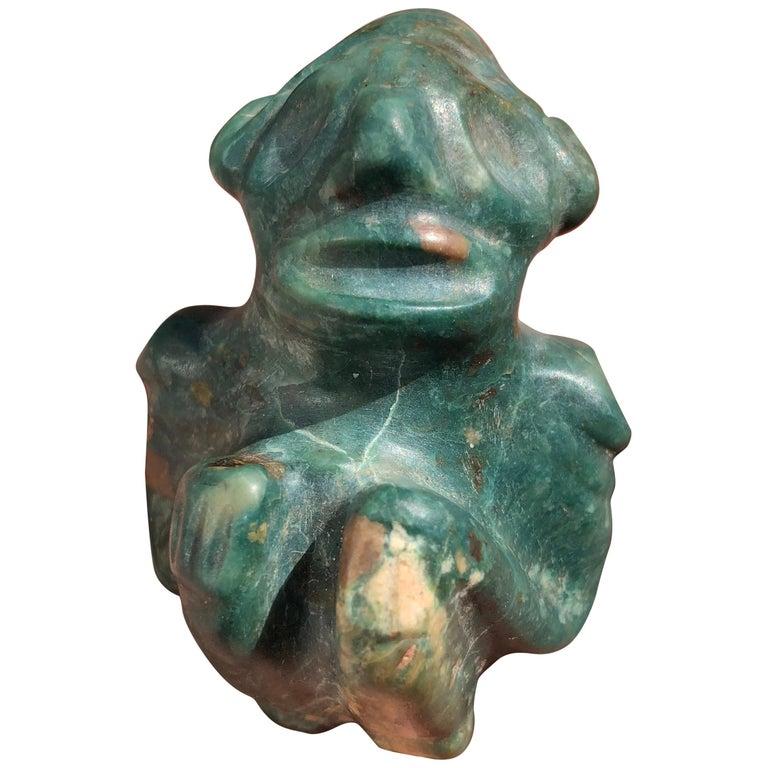 "Americas Antique Treasure Jade: Hallucinogenic ""Seated"" Pendant, 500 Years#4 For Sale"