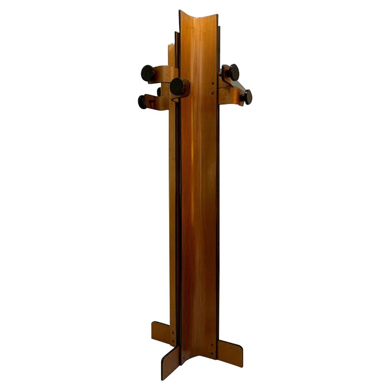 Coat Rack in Multiplex Curved Wood by Campo Graffi, circa 1960 For Sale