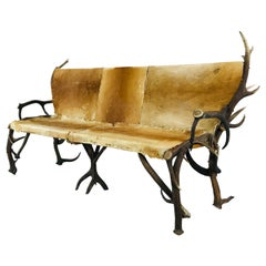 Vintage Antler and Hide Bench