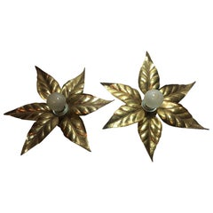 1960s Flower Power Brass Flush Mount or Sconces Willy Daro Style