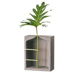 Vase L, Ghost Collection, Contemporary Vase in Concrete and Brass