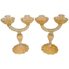 Barovier and Toso Murano Pair of Double Candlesticks by Ercole Barovier
