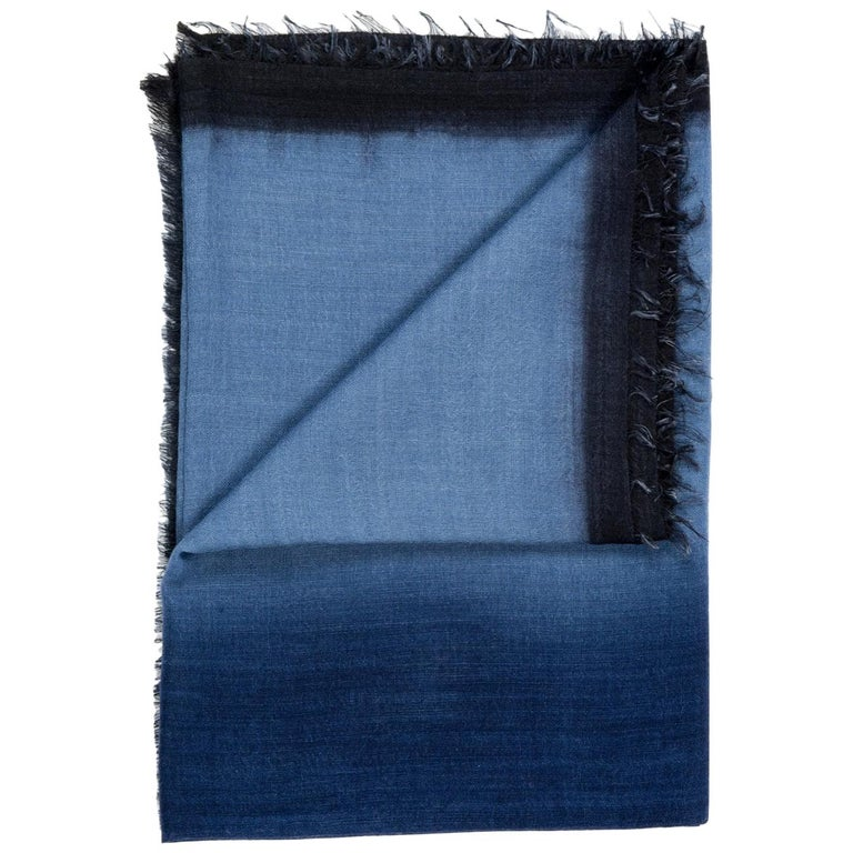 Handloom ARIA INDIGO Ombre Scarf / Shawl In Cashmere & Merino For Sale