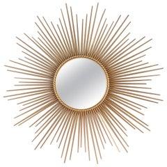 20th Mid-Century Modern Design Gilded Metal Framed Mirror