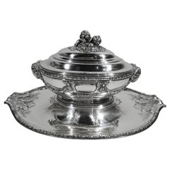 Large Antique French Belle Époque Classical Silver Tureen on Stand