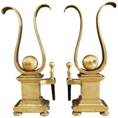 Pair of French Solid Brass Lyre Shape Andirons