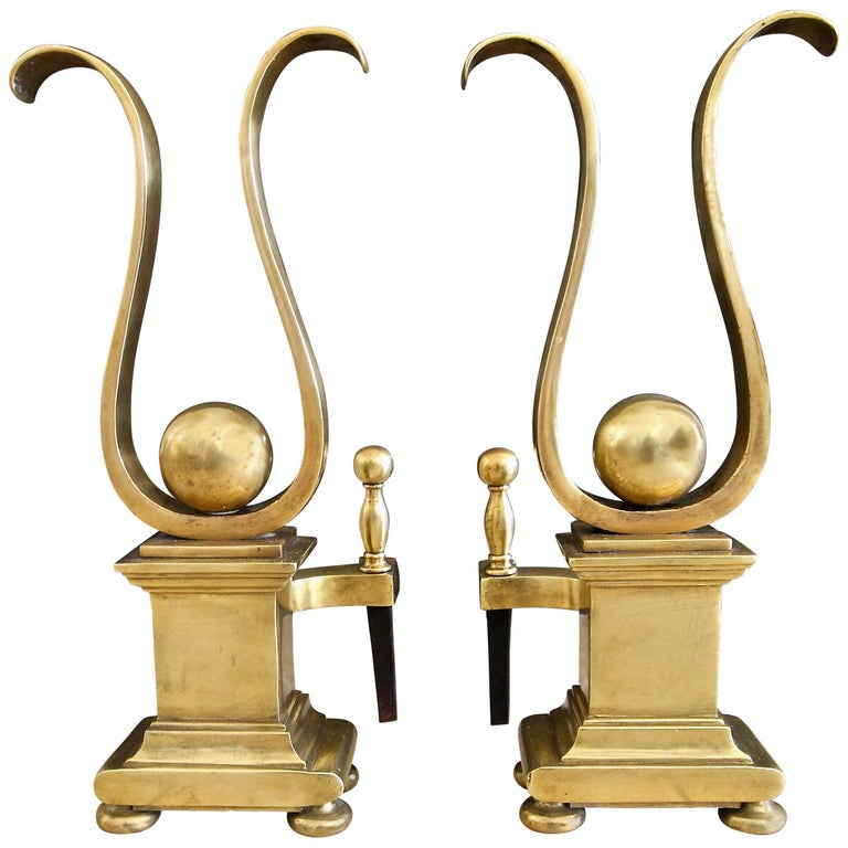 Pair of French Solid Brass Lyre Shape Andirons For Sale