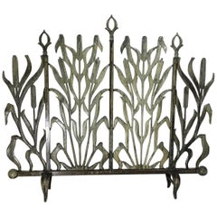 Cat Tail Cast Iron Fireplace Screen