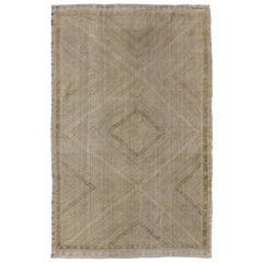 Vintage Turkish Embroidered Rug in Shades of Brown with Geometric Diamond Design