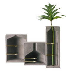Set of Vases S, M, L, Ghost Collection / Contemporary Vase in Concrete and Brass