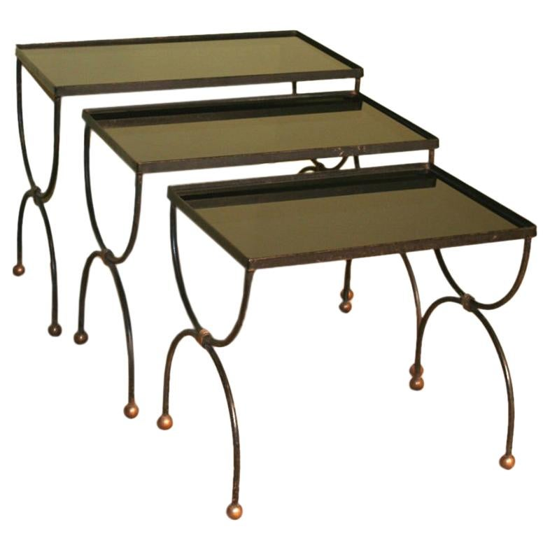 Midcentury French Nesting Tables with Glass Tops