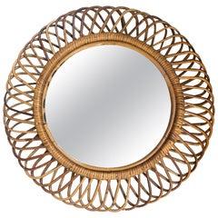 Mid-Century Modern Italian French Riviera Bamboo Wall Mirror, 1960s