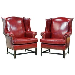 Pair of Vintage Queen Anne Style Nail-Head Trimmed Leather Wing Back Chairs