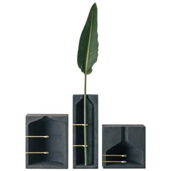 Set of Vases S, M, L, Ghost Collection or Contemporary Vase in Black Concrete