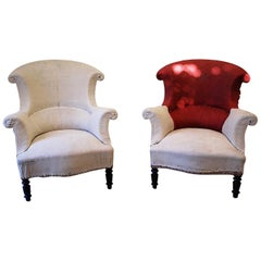 Pair of Upholstered Fauteuil Armchairs/Tub Chairs, circa 1860