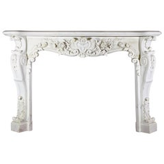 European Opulent White Statuary Marble Fireplace Surround