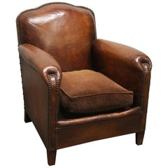 1980s Single French Leather Club Chair