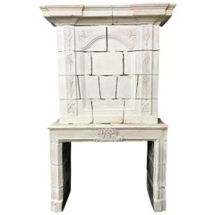 17th Century Louis XIV Carved Stone Chateau Fireplace Mantle Provence France