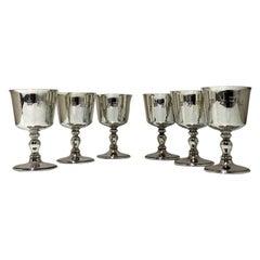 20th Century Modern Sterling Silver Set Six Wine Goblets Birm 1970 Barker Ellis
