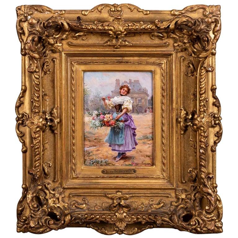 Flower Girl by Louis Marie de Schryver For Sale
