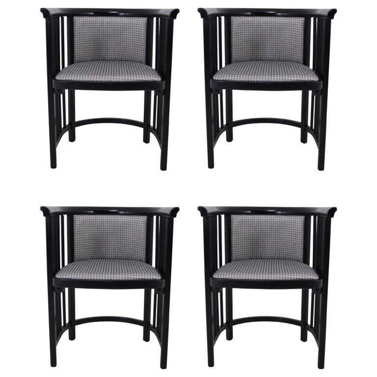 Set of Four Vienna Secession Armchairs in Bentwood Designed by Josef Hoffman For Sale